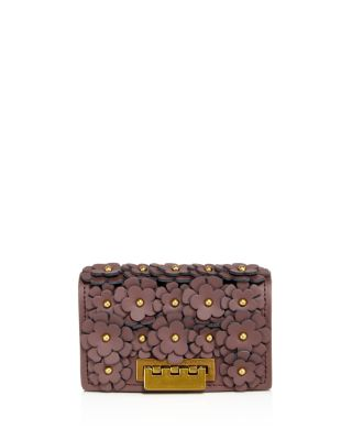 Zac Zac Posen Earthette Leather Card Case In Purple/Brass