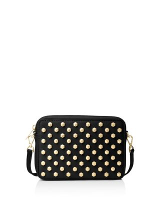 Michael Michael Kors Pouches Studded Medium Leather Crossbody In Black/Gold