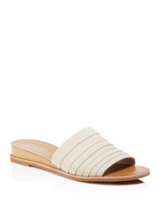 Kenneth Cole Janie Leather Demi Wedge Slide Sandals In Bone
