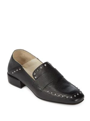 Kenneth Cole Bowan Studded Square Toe Loafers In Black