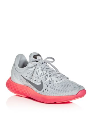 Nike Lunar Skyelux Lace Up Sneakers In Pure Platinum/Stealth Pink