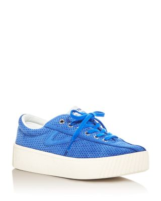 Tretorn Tretron Women's Nylite Bold Perforated Lace Up Platform Sneakers In Blue