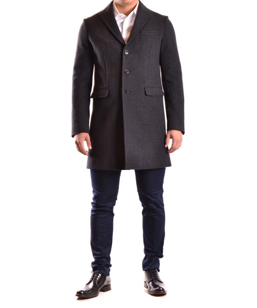 Dsquared2 Men's  Black Wool Coat In Grey