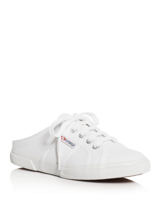 Superga Women's Classic Lace Up Sneaker Mules In White