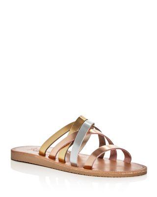 Joie Paxon Tonal Metallic Crisscross Slide Sandals In Rose Gold