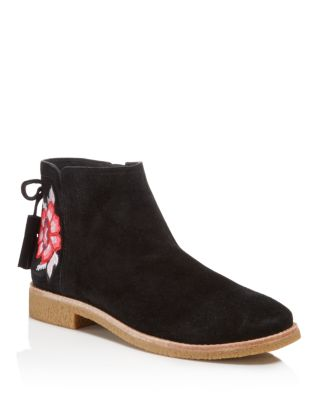 Kate Spade Embroidered Suede Boots In Black