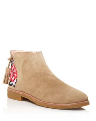 Kate Spade Embroidered Suede Boots In Desert