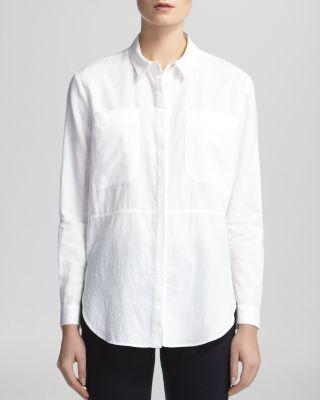 Whistles Shirt - Romy Longline Pocket In White