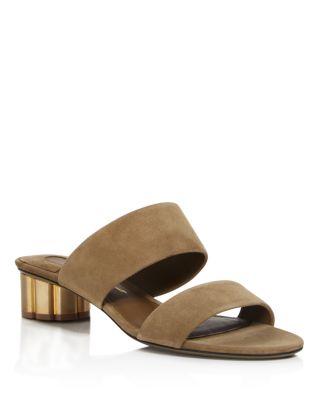 Salvatore Ferragamo Suede Low Heel Slide Sandals In Bosco Brown/Gold