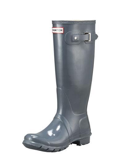 Hunter Original Tall Gloss Rain Boots In Graphite