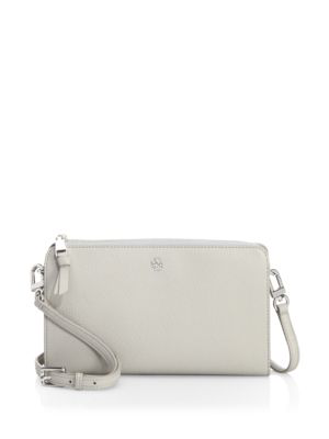Tory Burch Robinson Pebbled Leather Wallet Crossbody In Concrete