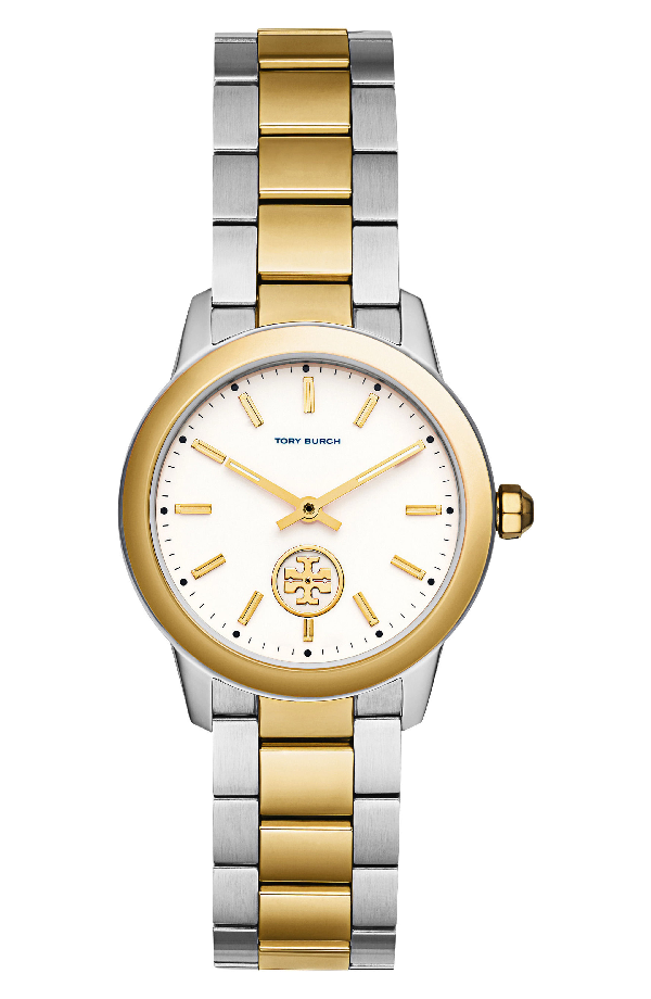 Tory Burch Collins Two-Tone Bracelet Watch, 32Mm In Silver/ Cream/ Gold