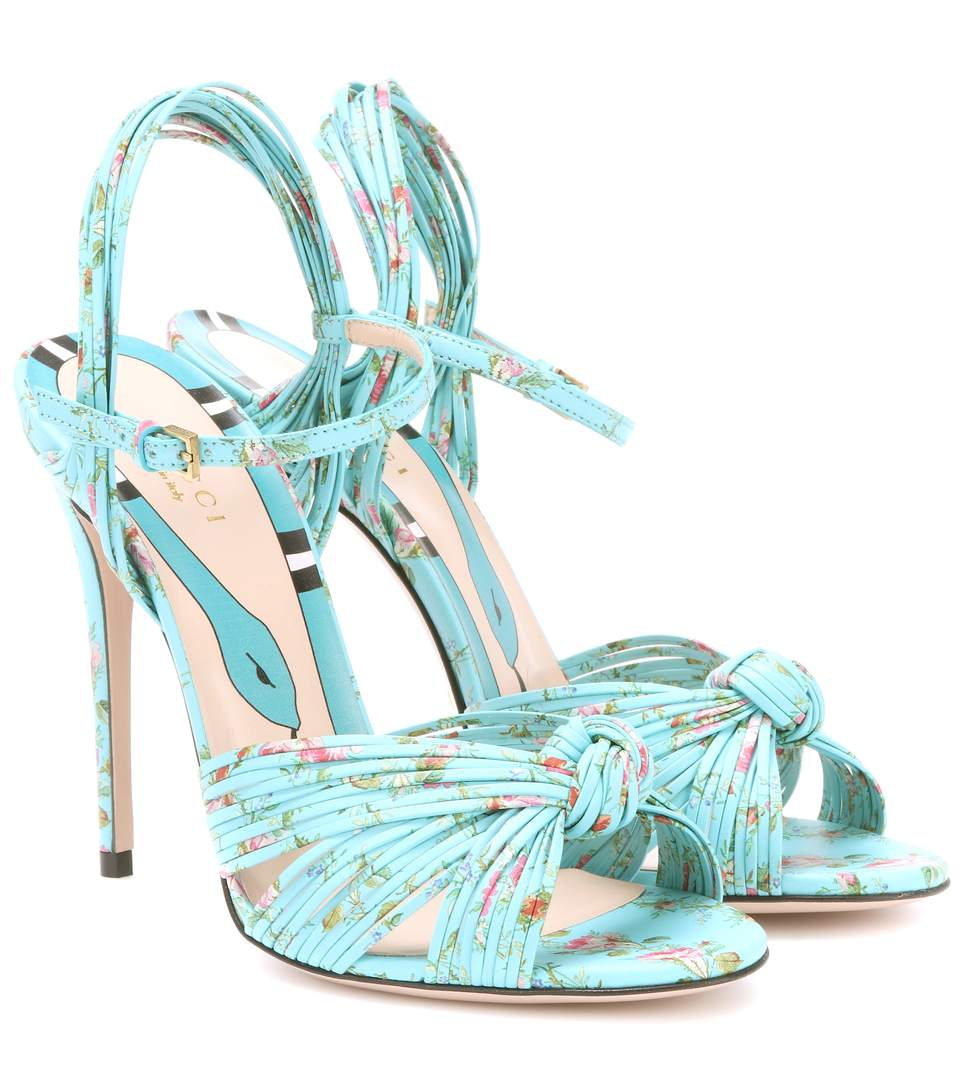 696932bb5 Gucci Allie Floral-Print Leather Sandals In Blue Multi