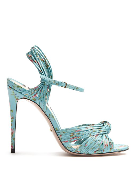 Gucci Allie Floral-Print Leather Sandals In Blue Multi