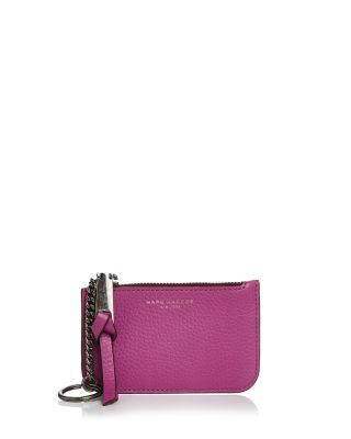 Marc Jacobs Leather Key Pouch In Lilac/Gunmetal