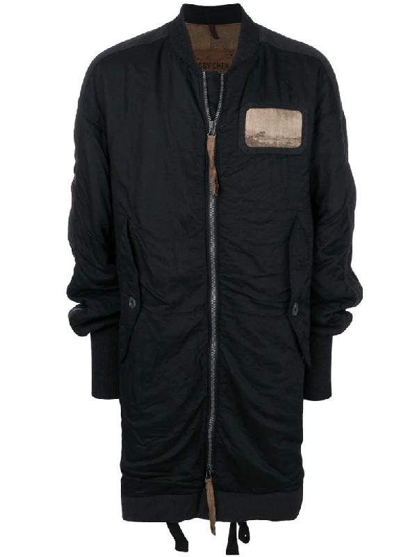 Ziggy Chen Zip Up Patch Coat In  Black