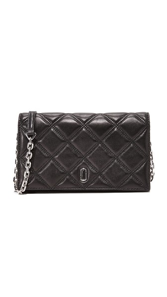 Marc Jacobs Quilted Leather Wallet On A Chain - Burgundy In Black