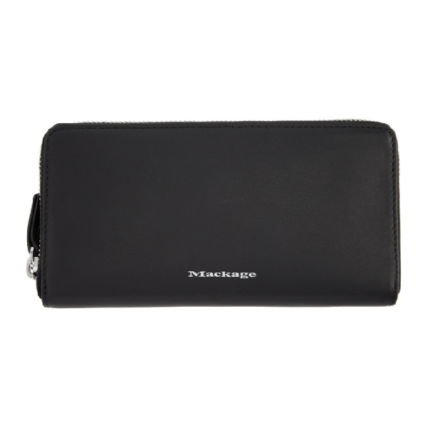 Mackage Duke Zip Around Leather Wallet In Black