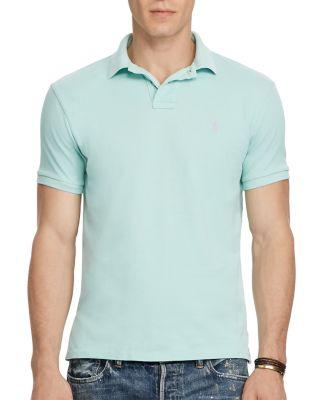 Polo Ralph Lauren Weathered Mesh Custom Slim Fit Polo Shirt In Bayside Green
