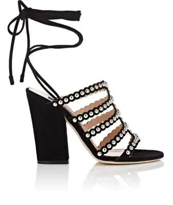 46812931c7df Sergio Rossi Elettra Studded Ankle Tie Block Heel Sandals In Nero ...