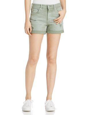 Ag Hailey Distressed Denim Shorts In Sulfur Silver Se Terrain