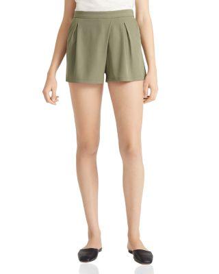 Halston Heritage Flowy Twill Shorts In Moss