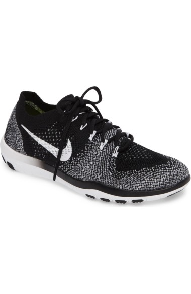 Nike Women's Free Focus Flyknit 2 Lace Up Sneakers In Black/ White