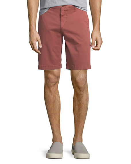 Paige Men's Thompson Cotton Twill Flat-Front Shorts In Vintage Guava
