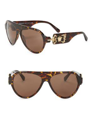 Versace 62Mm Aviator Sunglasses In Havana