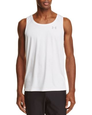 Under Armour Coolswitch Running Singlet Tank Top In White / True Gray Heather / Steel