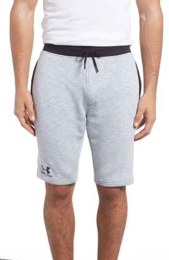 Under Armour Tapered Jogger Shorts In Overcast Grey/ Black