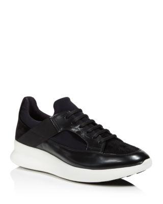 Salvatore Ferragamo Mixed Media Low Top Sneakers In Black