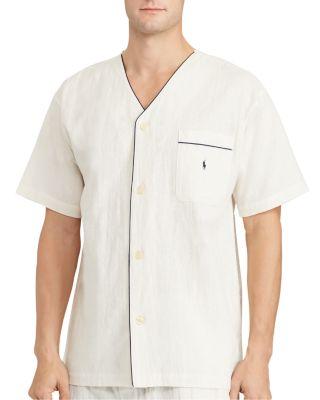 Polo Ralph Lauren Cotton Linen Pajama Shirt In Natural