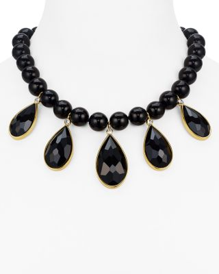 Kate Spade True Colors Stone Bib Necklace In Black