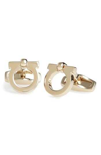Salvatore Ferragamo Single Gancio Cufflinks In Ottone