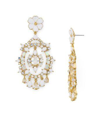 Kate Spade Garden Party Statement Earrings In Gold/White