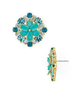 Kate Spade Here Comes The Sun Statement Studs Earrings In Gold/Blue