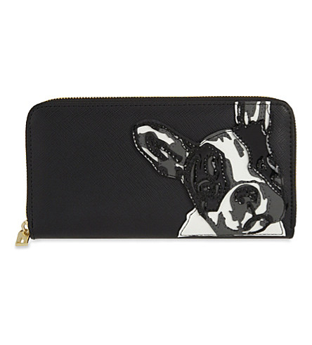 5bfb74d6584161 Ted Baker French Bulldog Print Leather Matinee Purse In Black