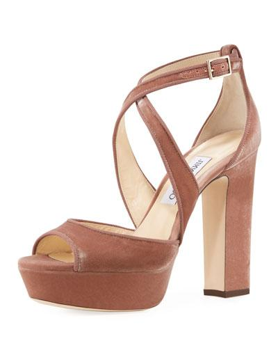 0bbd5c44b4fc Jimmy Choo April 120 Ballet Pink And Fire Velvet Mix Platform Sandals In  Yellow