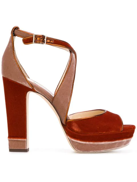 Jimmy Choo April 120 Ballet Pink And Fire Velvet Mix Platform Sandals In Yellow