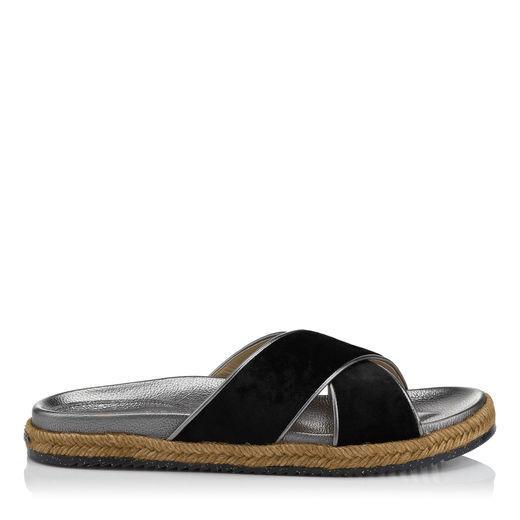 9565ce26d38d Jimmy Choo Nox Flat Black Crushed Velvet Sandals In Dark Mink