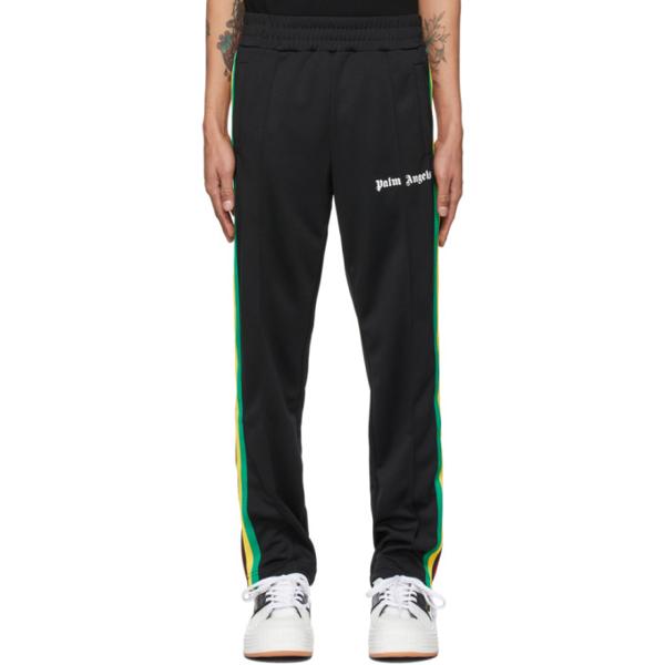 Palm Angels Logo-print Side-stripe Jersey Track Pants In Black White