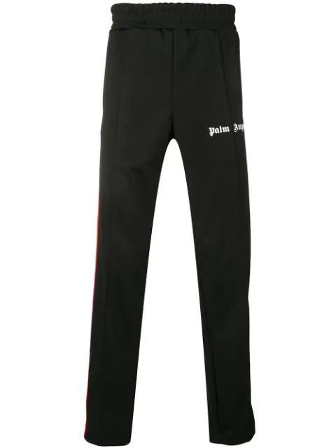 Palm Angels Side Stripe Slim-fit Track Pants In Black/ White
