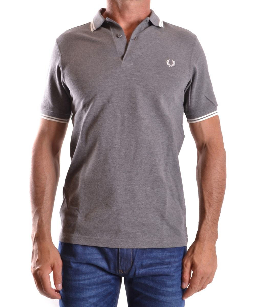 Fred Perry Men's  Grey Cotton Polo Shirt