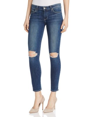 Paige Verdugo Ankle Skinny Jeans In Donna Destructed In Donna Distressed