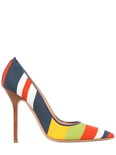 Dsquared2 Striped Cotton Canvas Pumps In Multi