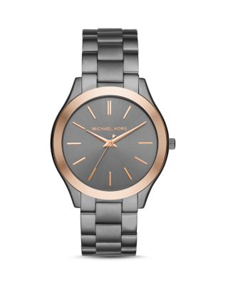 Michael Kors 42Mm Slim Runway Bracelet Watch In Gunmetal/Rose Golden In Gray