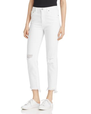 Ag Phoebe Distressed Straight Leg Ankle Jeans In 5 Years White Frayed