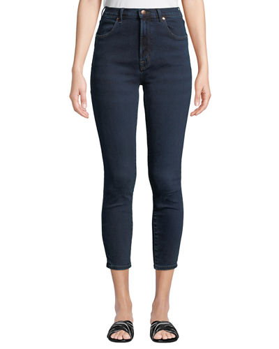 J Brand Alana Bleached High-Rise Skinny Ankle Jeans In Dark Blue