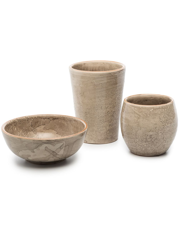 Brunello Cucinelli Glazed-finish Ceramic Bowl And Tumbler Set In Neutrals